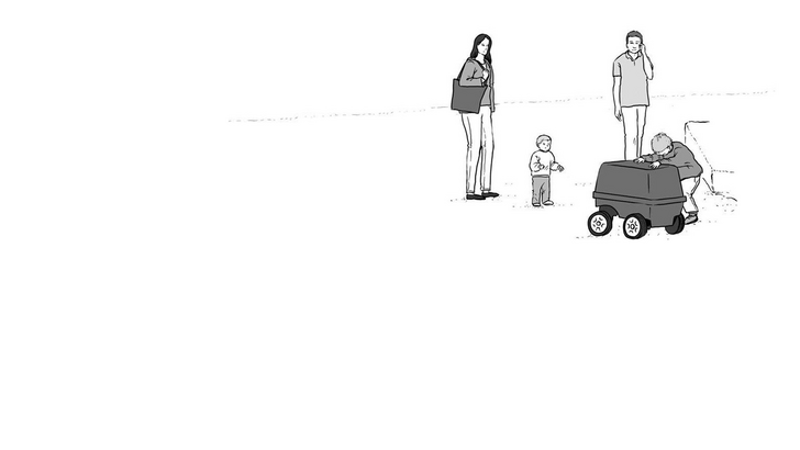 Sketch of a familiy interacting with a delivery robot